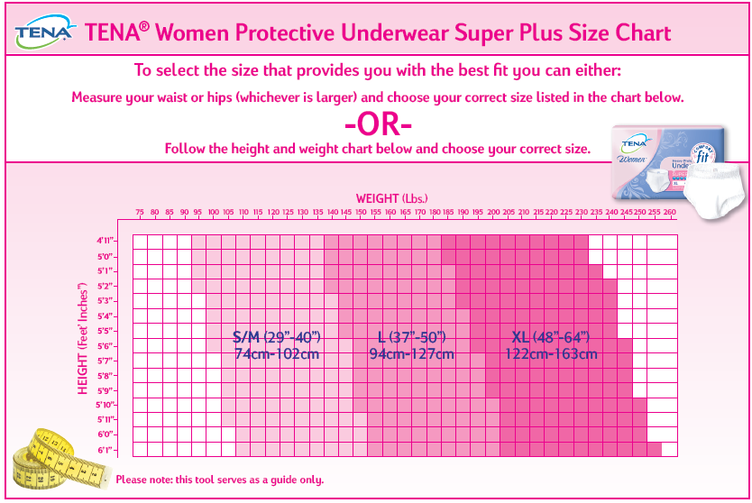 Adult Diapers And Chux Pull Ups Amp Underwear Size Charts